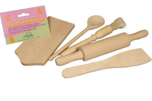 Beech Wood Kids Kiddies Child Children Cooking Baking Rolling Kit Set 5 PCS NEW