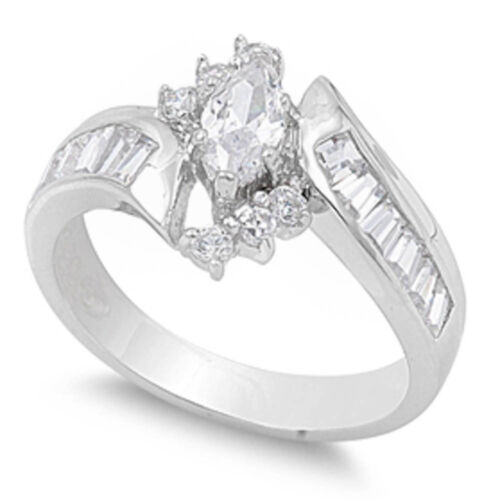Elegant MARQUISE CZ /& BAGUETTE .925 Sterling Silver Ring SIZES 6-10