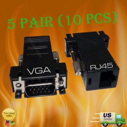 VGA SVGA to RJ45 Video Extender Adapter HD15 to CAT5e CAT6 100/' 5Pair 10 pcs