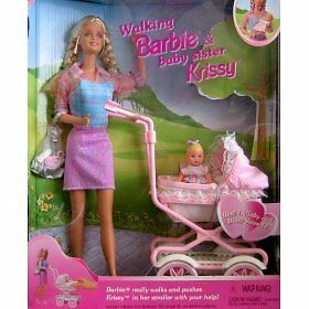 Difícil de encontrar rara caminar Barbie y bebé hermana Krissy Menta en caja