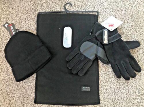 GLOVE GENTS 3-PIECE BLACK POLAR FLEECE SCARF AND SMOOTH KNIT HAT SET L//XL