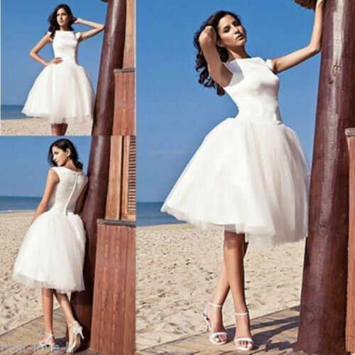 Short Knee Length Ball Gown Satin Tulle Beach Wedding Dresses Bridal Gowns New