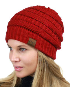 773fa2e65 Details about New CC Beanie Womens Cap Hat Skully Unisex Slouch Color Cable  Knit Beanie USA