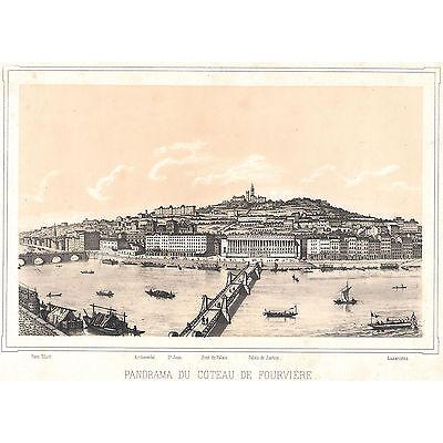 LYON Stadtansicht Lithographie um 1850 - sehr schönes Original!