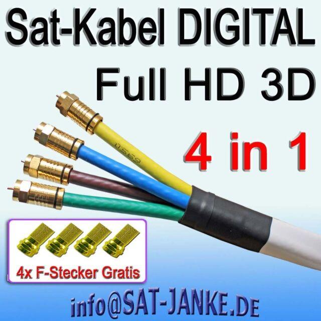 Sat Koax Kabel 17m G Quattro CK 4 in 1 digital Full HD 4x7mm Koaxialkabel 3D 8K