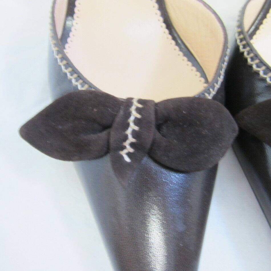 MANOLO BLAHNIK chocolate Braun Leder slingback schuhe w/ bow bow bow 38.5 7.5 82581b
