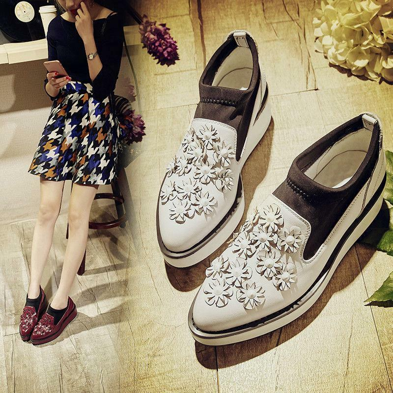 Casual New Womens Pointy Toe Floral Leather Slip On Casual Sneaker shoes 35-40