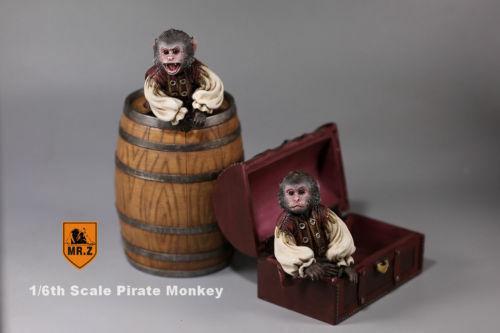 Mr. Z 1 6 Resina Animal Mascota Modelo 2 un. Pirata Mono & barriles Figura De Caja De Tesoro