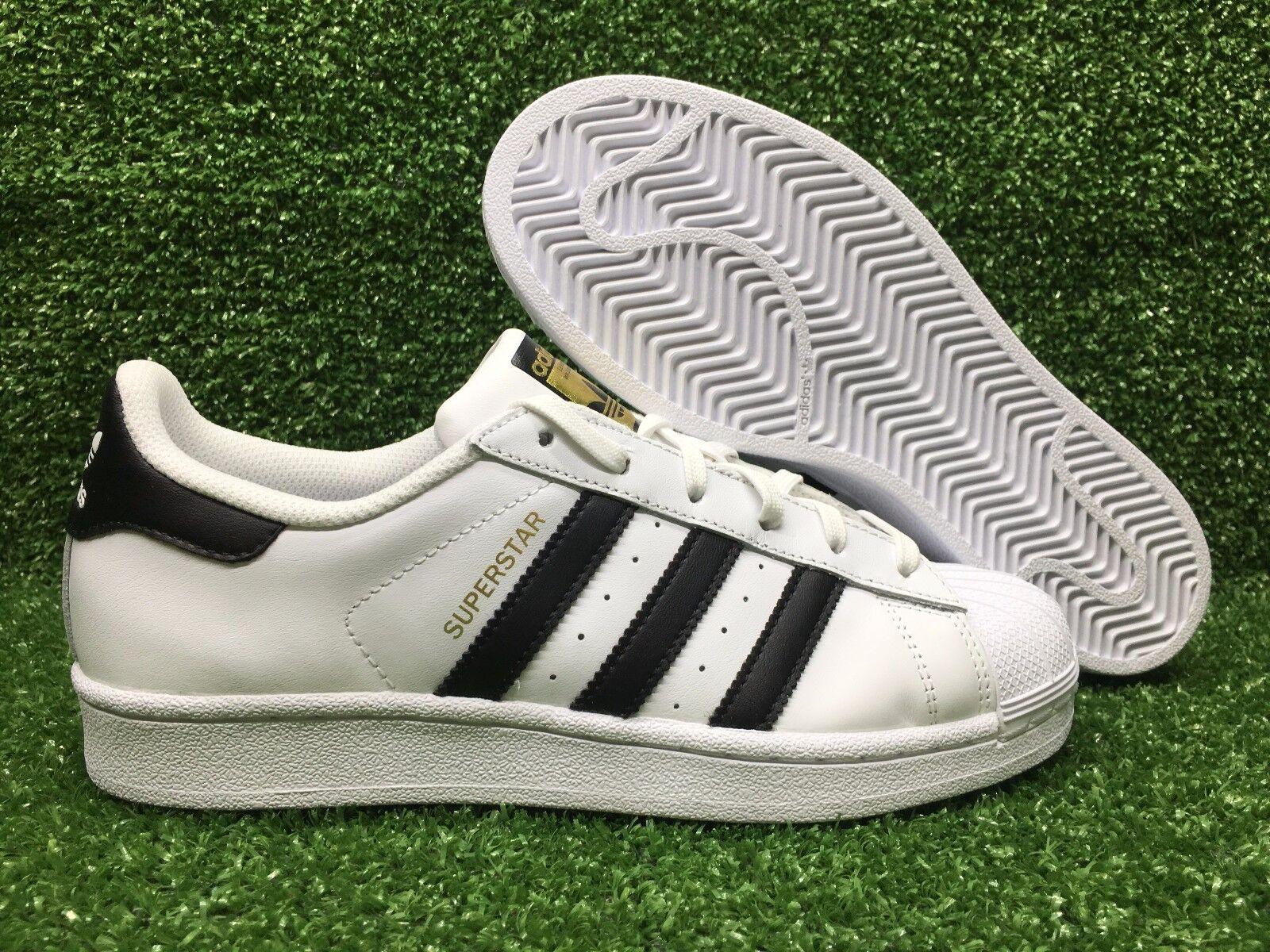 New Adidas Original C77124 Superstar White Black Gold Label Foundation Men's