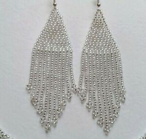 Silver Earrings Fringe Beaded Earrings Long Seed Bead earrings Silver Seed bead
