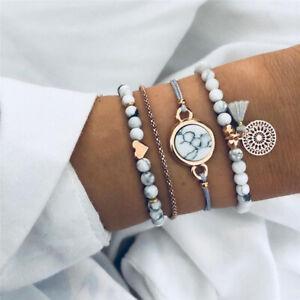 HOT-4Pcs-Trendy-Marble-Beads-Tassel-Handmade-Bohemian-Charm-Bracelet-Set-Jewelry