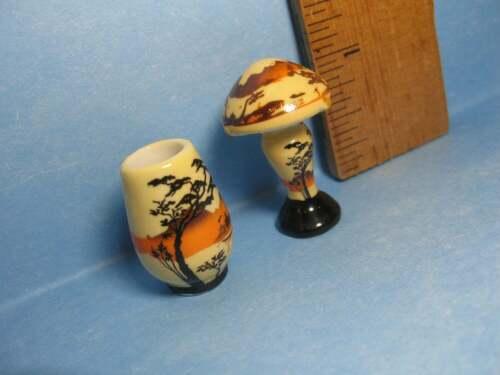 Glass Look Asian Japanese Lamp /& Vase French Feves Porcelain Dollhouse Miniature