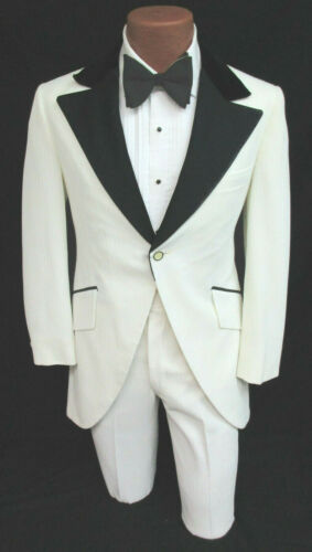 Details about  /Men/'s Vintage White Tuxedo Jacket with Pants 1970s Morning Coat Tailcoat 44S 38W