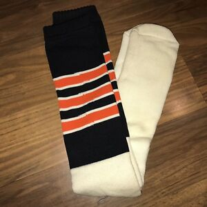 a43e15e8286 NEW Vtg 70s 80s Knee high TUBE SOCKS Black Orange STRIPED Oregon ...