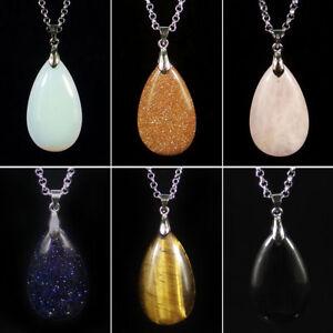 Натуральный кристалл кварц драгоценный камень капля воды бусины камень амулеты подвески ожерелье