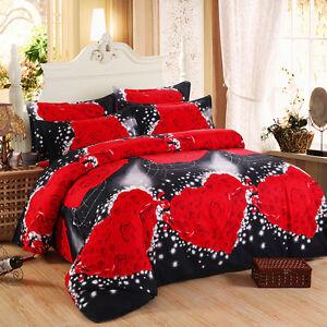 Duvet-Cover-Pillowcase-Quilt-Cover-Bedding-Set-Double-Queen-King-oAUr-Love-Rose