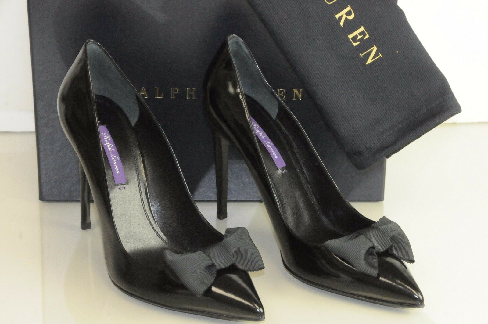 NEW RALPH LAUREN Purple Label Cemira Black Leather Bow Pumps shoes Heels 40 41