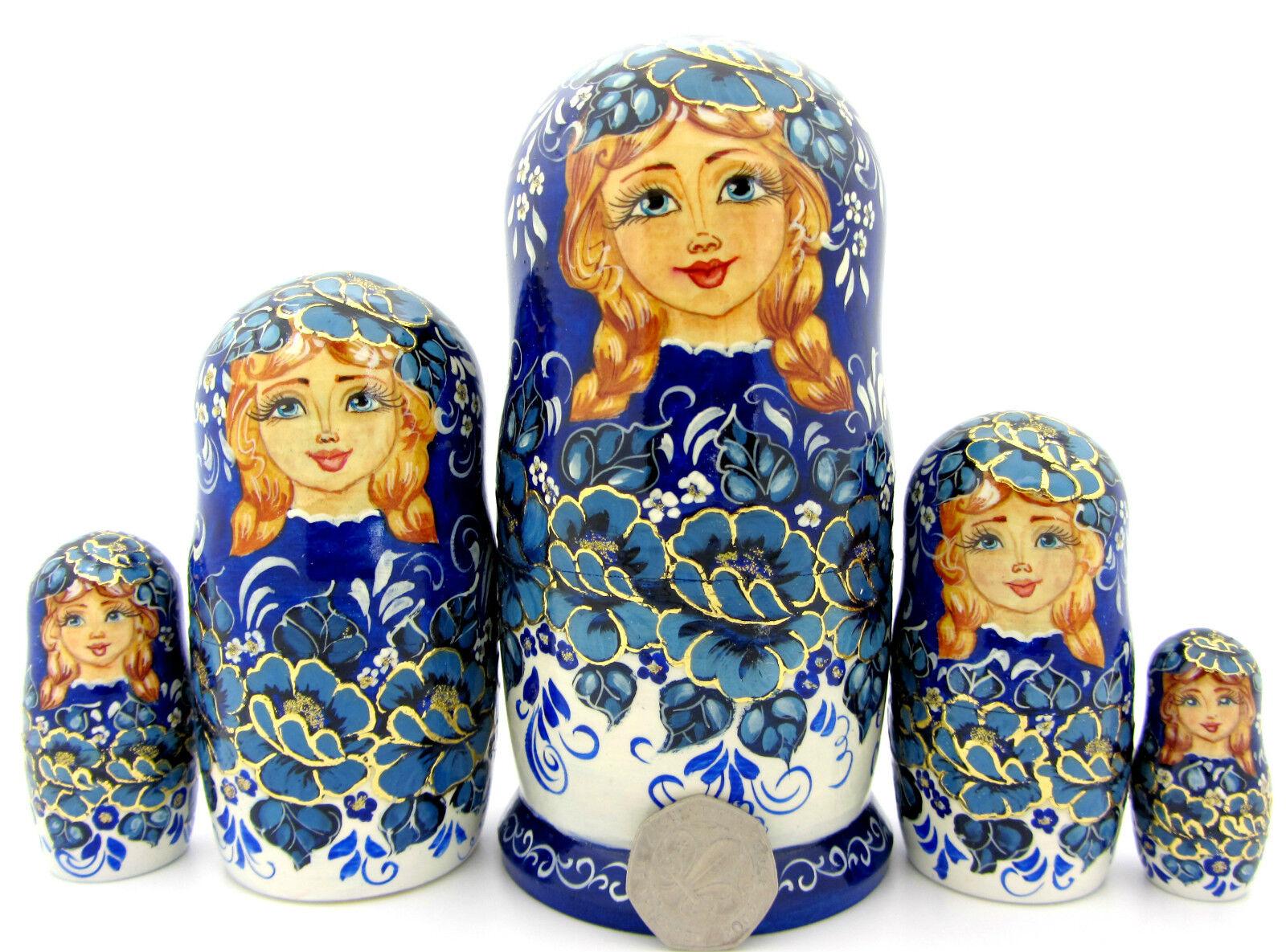 vieni a scegliere il tuo stile sportivo Nidificazione Bambole Russe Russe Russe Matriosca Baautobushka 5 Blu Bianco Fiore POTAPOVA  negozio fa acquisti e vendite