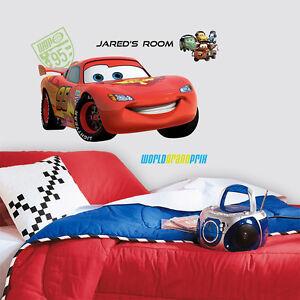Details zu Wandsticker Kinderzimmer Disney Cars LightningMcQueen mit Name  Wandtattoo Autos