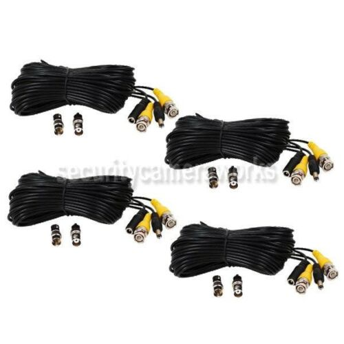 4x 50ft Security Camera CCTV DVR Surveillance Video Power Cable BNC RCA Wire B80