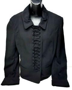 St John Womens Blazer Jacket Ruffled Black Snap Button Collar Size Large