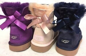 b3b39934f5a Details about Ugg Australia Mini Bailey Bow Flowers Girl's Boots 1016234  Sheepskin Shearling