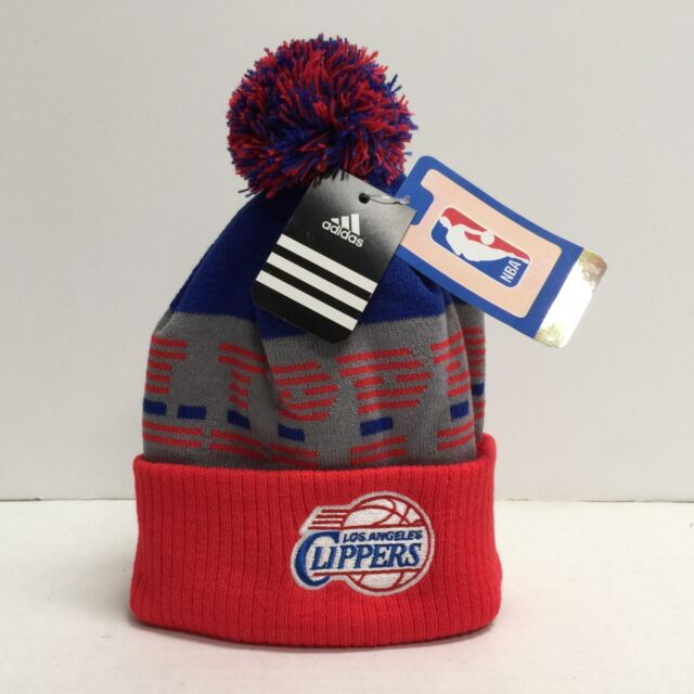 more photos 60cfa bc4e4 Los Angeles Clippers Youth Adidas NBA Knit Cuffed Pom Hat NEW Boys 8-20
