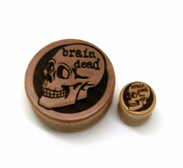 Brain Dead Skull Engraved Wood Plug [10mm+] stretchers -PRICE PER ONE- Tunnel