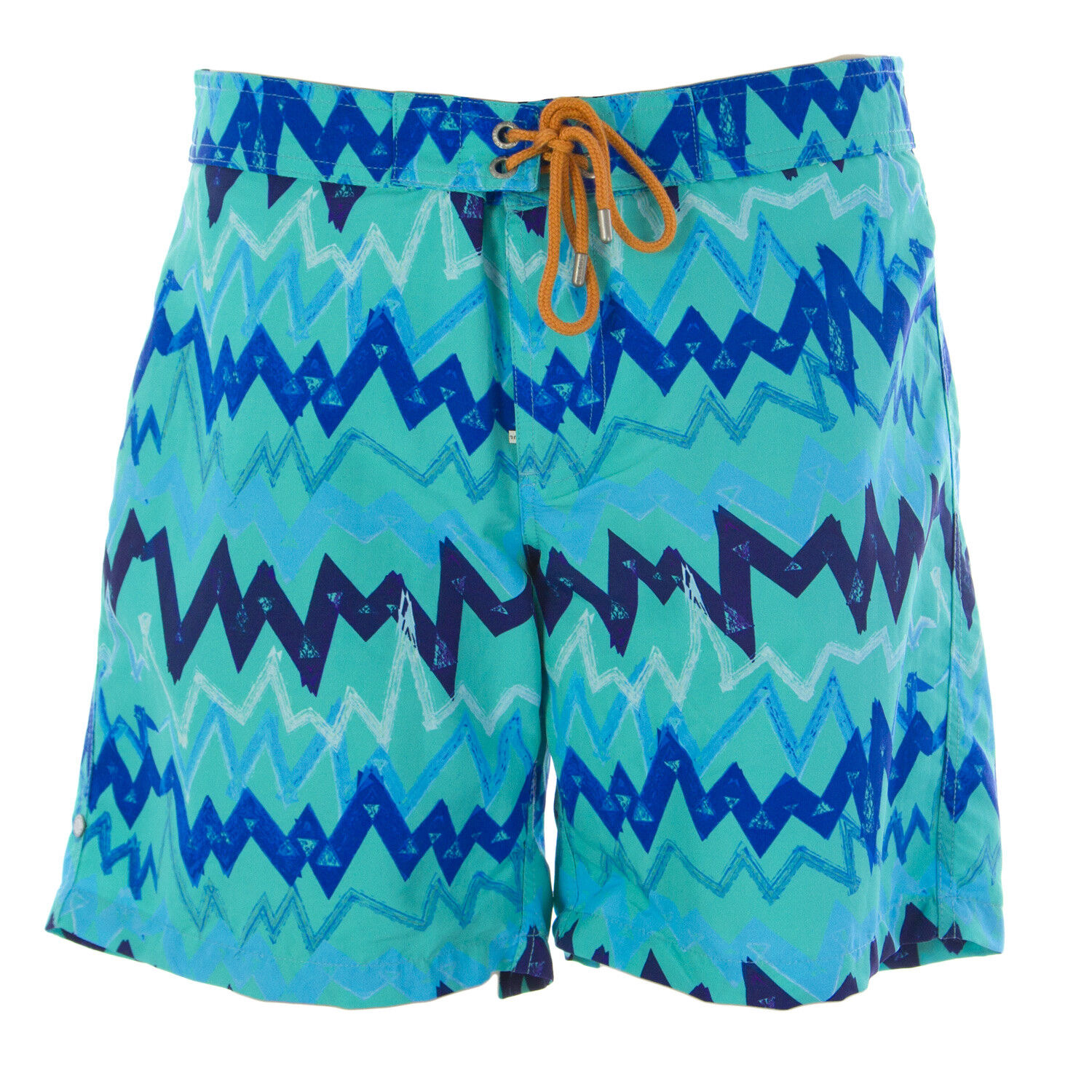 b4812fbb0d OLASUL Men's Turquoise 8 Chevron Trunks NEW Print Swim nanpno2209 ...