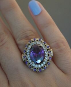 925 Sterling Silver Handmade Authentic Turkish Amethyst Ladies Ring Size 7-10