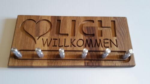 """Schlüsselbrett /""""Herzlich willkommen/"""" Eiche CNC gefräst  Hakenleiste geölt"""