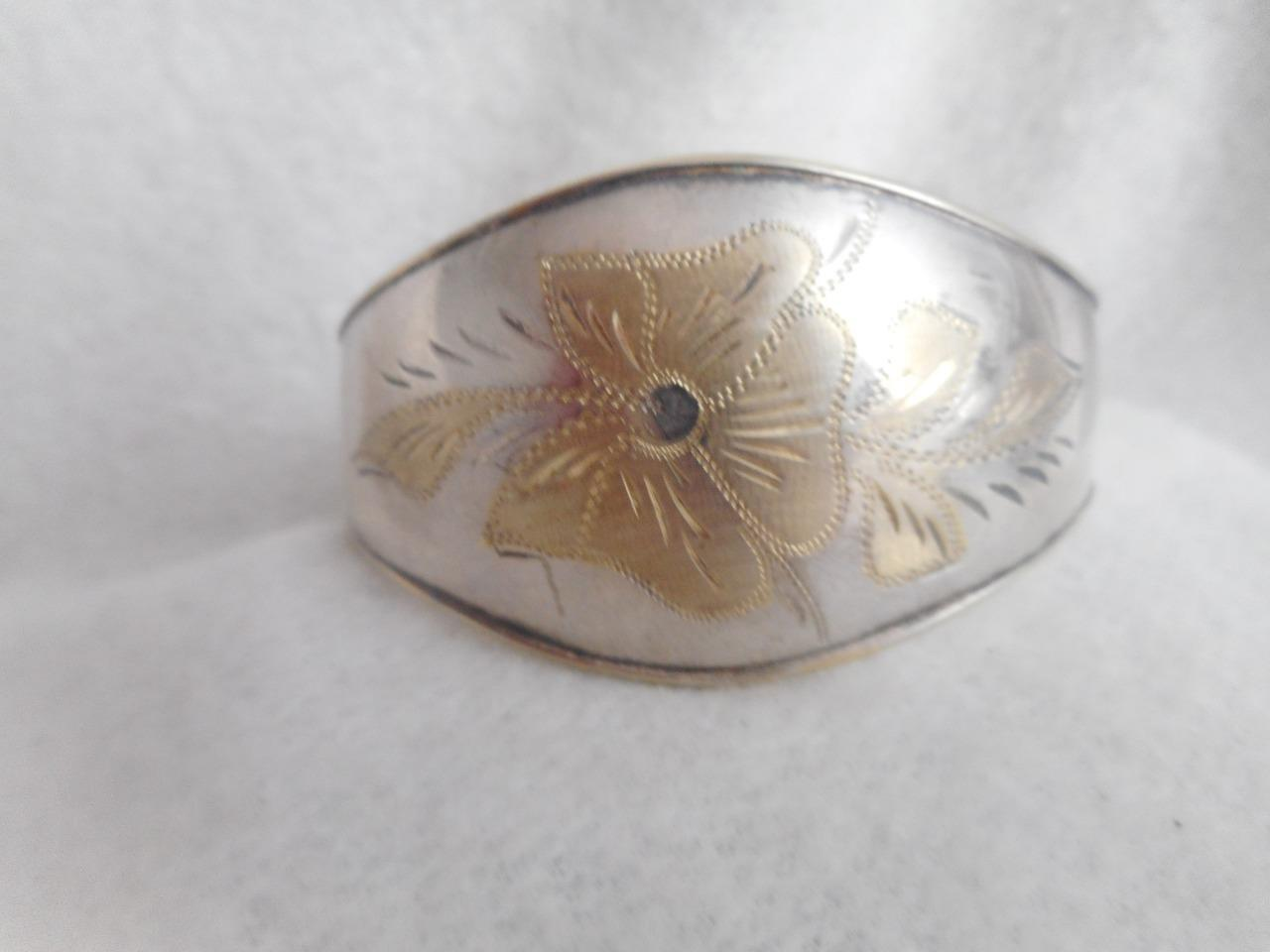 Signed  925 graduated cuff bracelet & etched gold plated 925 flowers