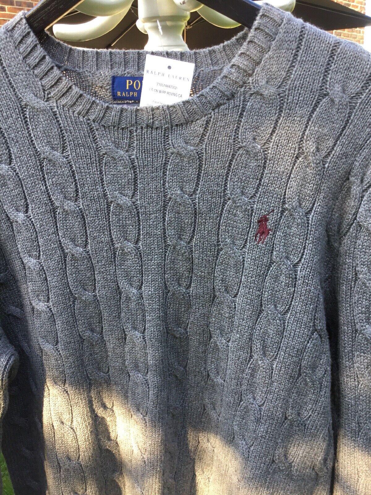 Charcoal grau Cable Knit herren Ralph Lauren Jumper Größe S