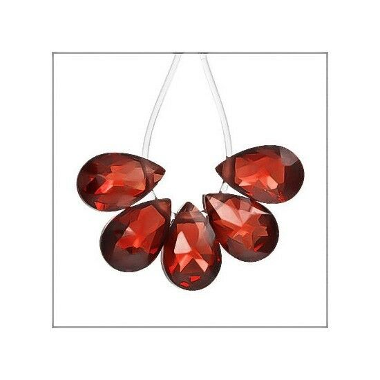 8 Cubic Zirconia Flat Pear Briolettes Beads 6x9mm Garnet Red #64137