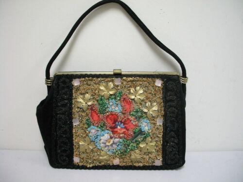 Vintage 40s/50s Black Handbag Embellished with Nee