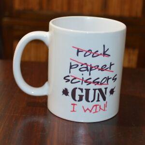 Unicorn Rock Paper Scissors Throat Punch I Win Mug Ceramic White Cup 11 oz.