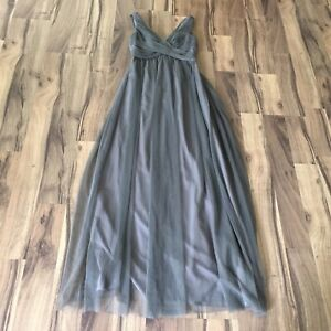 be35eea6a97d Image is loading Anthropologie-Hitherto-Women-Gray-Fleur-BHLDN-Tulle-Maxi-