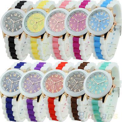 Women Geneva Silicone Band Jelly Gel Quartz Analog Sports Wrist Watch 10 Colors