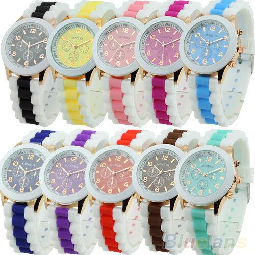 Womens Gift Geneva Silicone Band Jelly Gel Quartz Analog Sports Wristwatch B84U