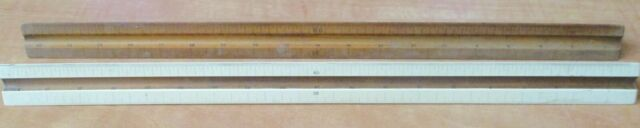 2 Vintage wooden Triangle Rulers Architect Engineer Eugene Dietzgen Chicago & NY