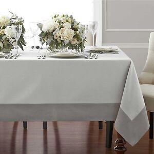 Wamsutta Bordered Linen 90-Inch Square Tablecloth in Grey
