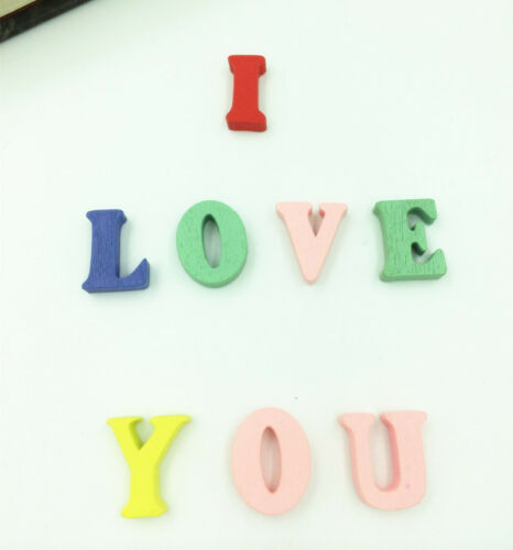 HOT 100 PCs Wooden Embellishments Letters Shape Mixed Colors 15mm
