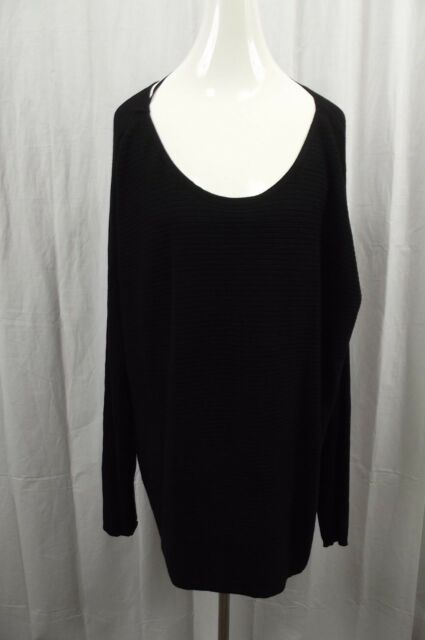 9fd3656c698 Lane Bryant Womens Plus 22 24 Black Ribbed Stretch Long Sleeve Top Blouse  Shirt