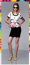 PRABAL GURUNG Floral Crush Print Spring Flower Summer Peplum Blouse Shirt Top 8
