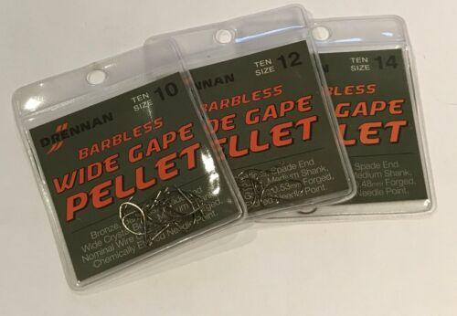 Various Sizes Drennan Wide Gape Pellet Barbless Hooks