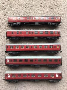 Rake of 5 OO gauge LMS coaches