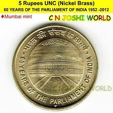 60 YEARS OF THE PARLIAMENT OF INDIA 1952-2012 Nickel-Brass 5 Rupee UNC # 1 Coin