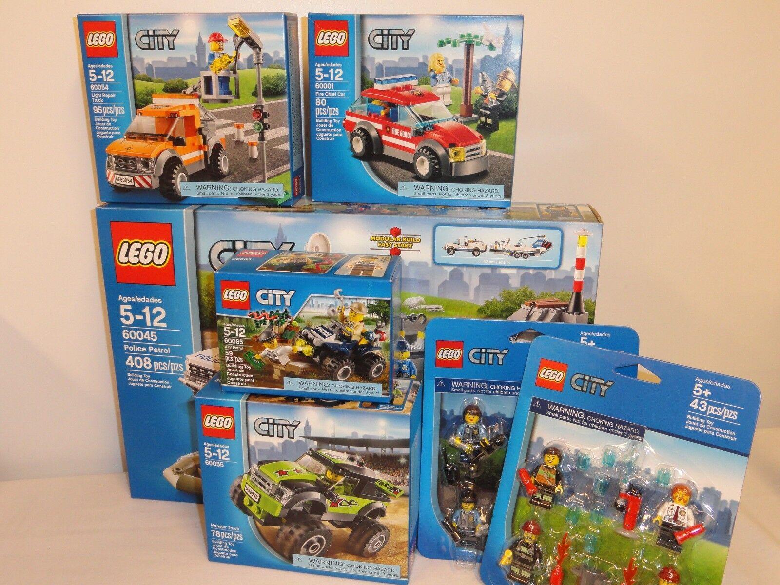 NEW LEGO City Police Patrol Bundle of 7 60045 60001 60054 60055 60065 Box Sets