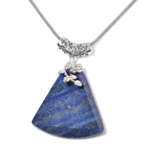 Lapis-Lazuli-Steel-Floral-Pendnat-Chain-Necklace-Jewelry-for-Women-20-034-100-Ct