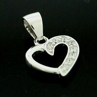 "Sterling Silver Cubic Zirconia  Set Heart Pendant +18"" Chain -FREE Gift Box"